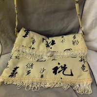 Small white chinese print bag with white trim