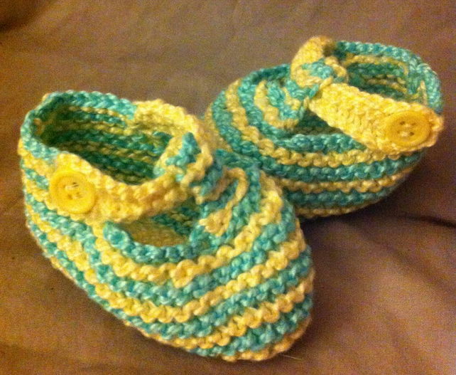 Blue & yellow stripey crocheted knitted baby booties