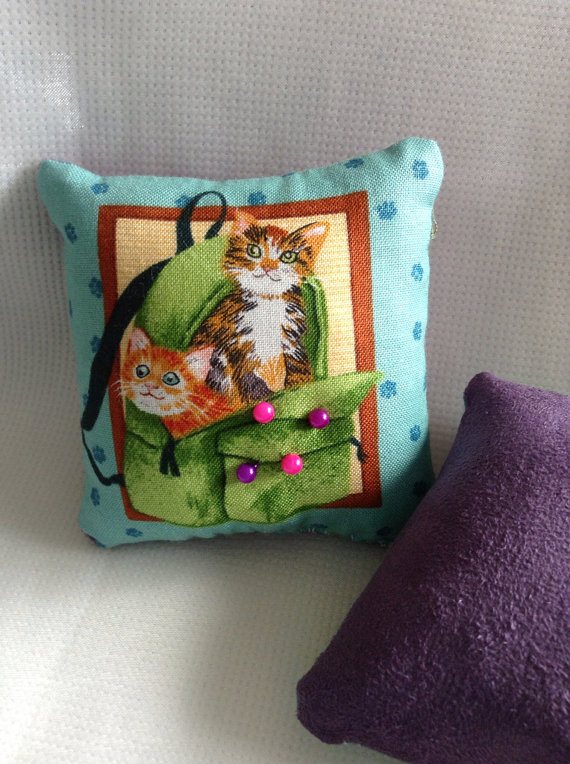 Cat in a bag pin cushion