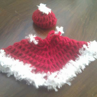 Knitted Christmas Doll Shawl & Hat Set