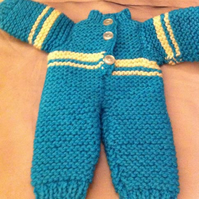 Knitted Blue Doll Snowsuit