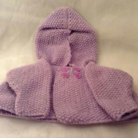 Knitted purple New-Born Hooded Cardigan