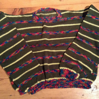 Green and Multicoloured Kids Wooly Jumper