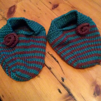 Stripey knitted slipper socks