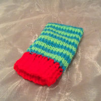 Stripy knitted phone sock