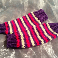 Kid's funky stripy fingerless gloves