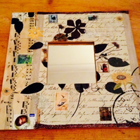 Vintaged decoupaged wooden square mirror