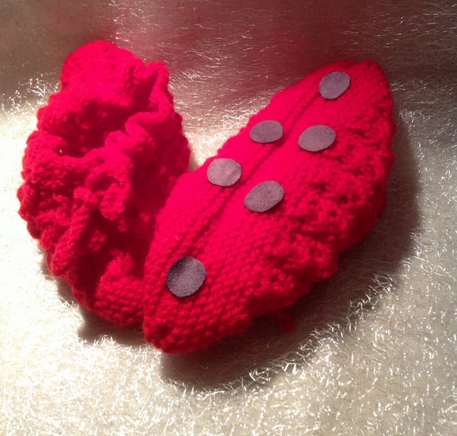 Small knitted red slipper socks