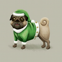 'Christmas elf pug' limited edition signed print
