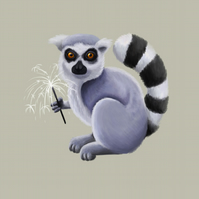'Ring Tailed Lemur with Sparkler' limited edition signed print