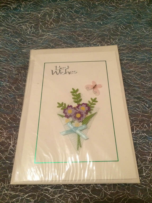 Best Wishes floral cross stich card
