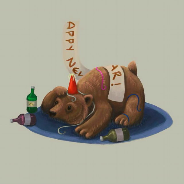 """Happy New Years Bear"" limited edition signed print"