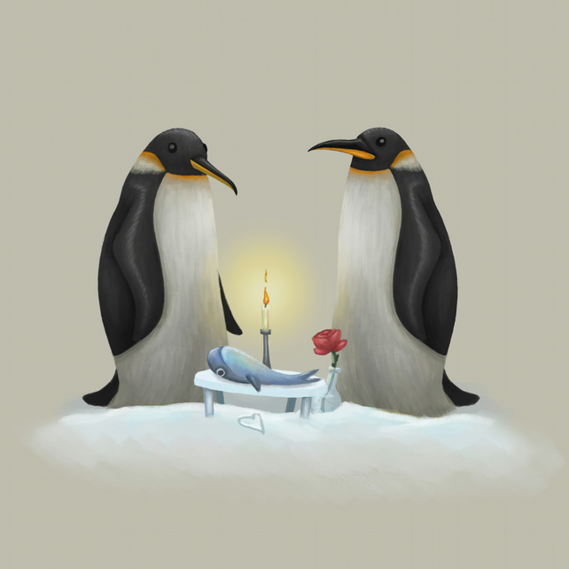 """Love Penguins"" limited edition signed print by Damian Case"