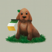 'St Patrick's Day Pup' limited edition signed print