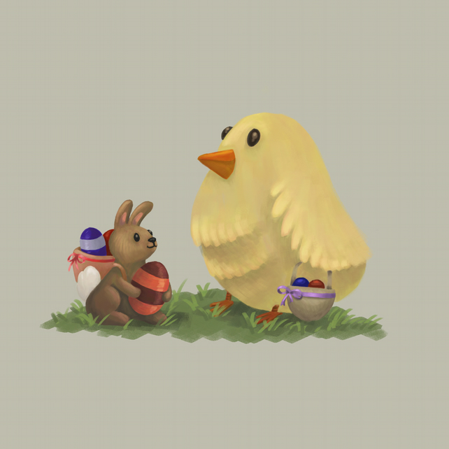 'Easter Chick & Bunny' limited edition signed print