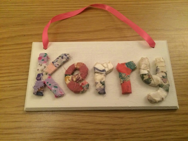 Pretty little shabby chic fabric wooden letter plaque