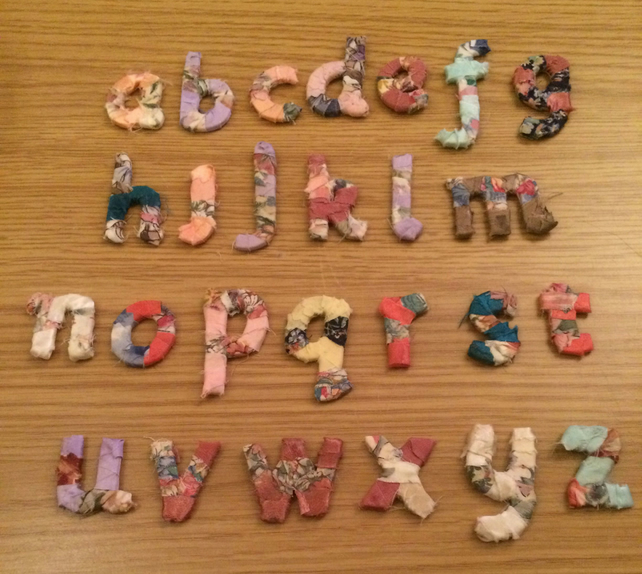 Pretty little shabby chic fabric wooden lower case letter