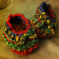 Pretty little multicoloured knitted baby booties