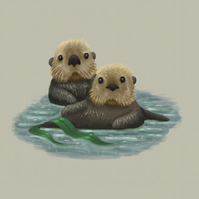 'Sea Otters' limited edition signed print