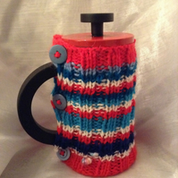 Small stripy knitted Cafetiere cosy