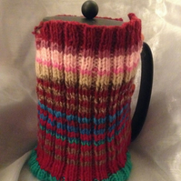 Large stripy knitted Cafetiere cosy