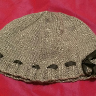 Little grey wool hat with bow