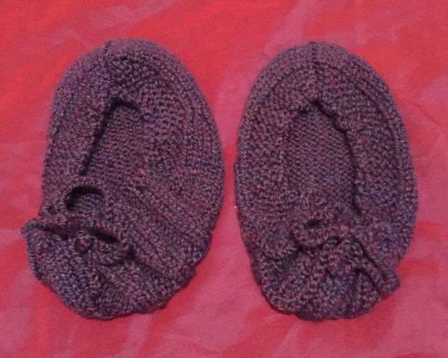 Purple Winter Wool Slipper Socks