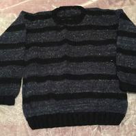 Black & grey striped wool adult jumper
