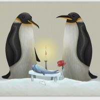 Penguins blank greeting card