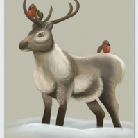 Reindeer & Robin blank greeting card