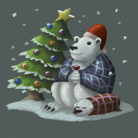 'Festive Polar Bear' limited edition signed print