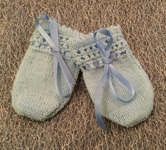 Little Knitted Blue Baby Mittens