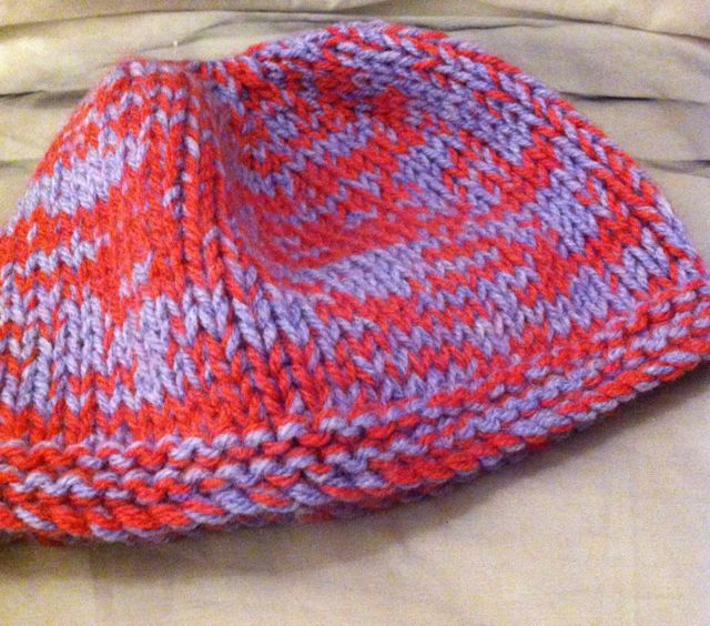 Little purple & pink knitted childs hat