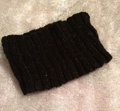 Black wool ski headband