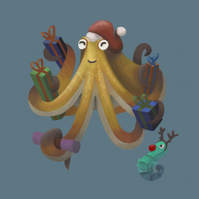 'Festive Octopus' limited edition signed print