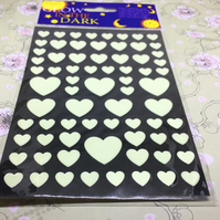 Small glow in the dark heart stickers