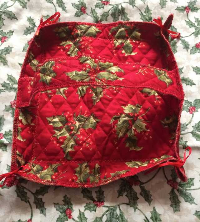 Decorative red and holly quilted square fabric basket