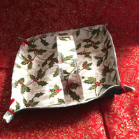 Small white and holly fabric square basket