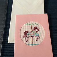 Little fairground carousel horse cross stitch blank greeting card