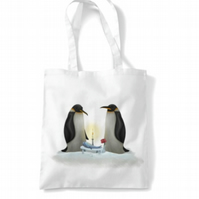 Love Penguins white Tote bag