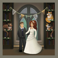 Wedding couple comission - digital art print