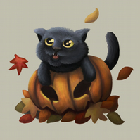 'Autumn' Halloween cat digital art print
