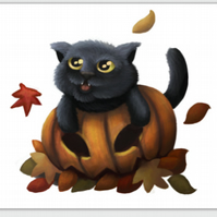 'Autumn' Halloween cat blank greeting card