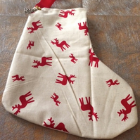 White & Red Reindeer patterned Christmas stocking