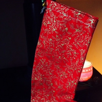 Red and gold holly Christmas stocking