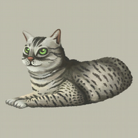 Egyptian Mau cat portrait limited edition signed print