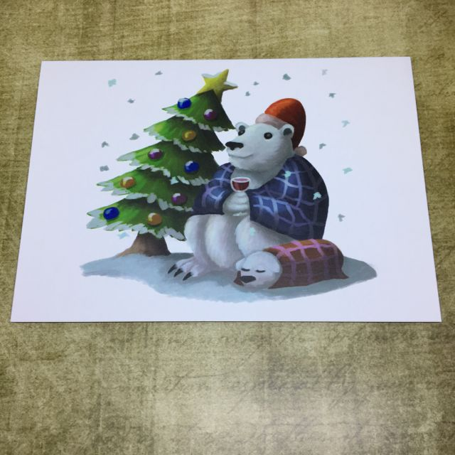 Festive Polar Bear blank greeting card