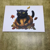 Pumpkin Cat post card