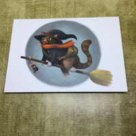 Cat Witch blank greeting card