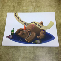 Happy Birthday Bear blank greeting card
